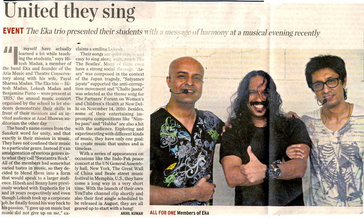 EKA - United They Sing – The Hindu, The Metroplus July 2011