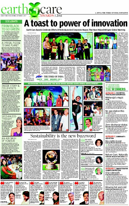 EKA - The Times of India Earth Care Awards 2011 Page 2 (Main Edition)